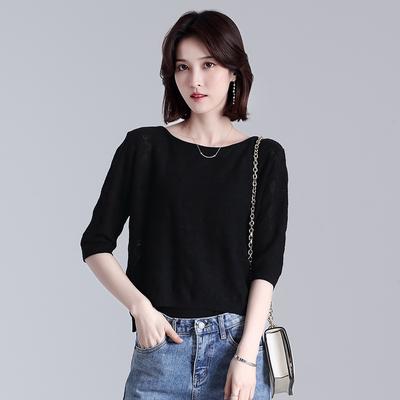夏季新款时尚五分袖短袖T恤女装桑蚕丝大码宽松显瘦纯色针织