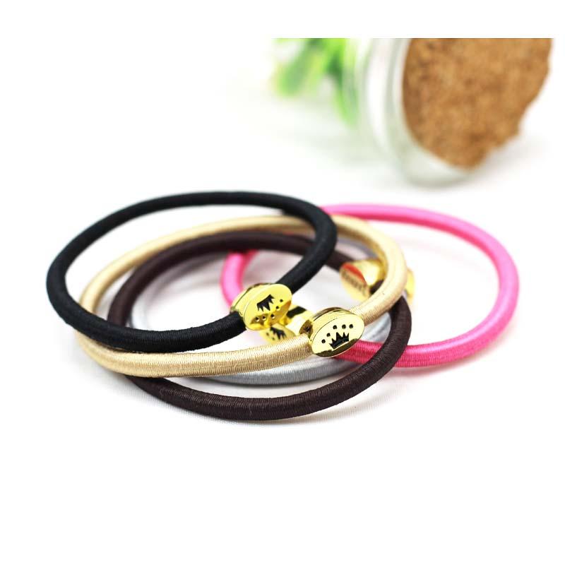 韩国kknekki 抛光镀金金属扣发圈 橡皮筋 发圈 弹性紧绷头绳 发饰