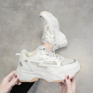 老爹鞋女冬加绒棉鞋跑步运动鞋