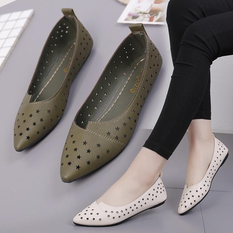 单鞋平底鞋新款镂空洞洞女鞋夏季尖头浅口一脚