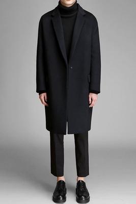 2017 mùa đông đôi phải đối mặt với cashmere trong phần dài của áo len nam Nhật Bản retro Ông Han ghosts Kong Tong với cùng một đoạn Áo len