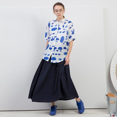 手工系列夏新品宽松解构不对称立体裁剪文艺藏青色半裙