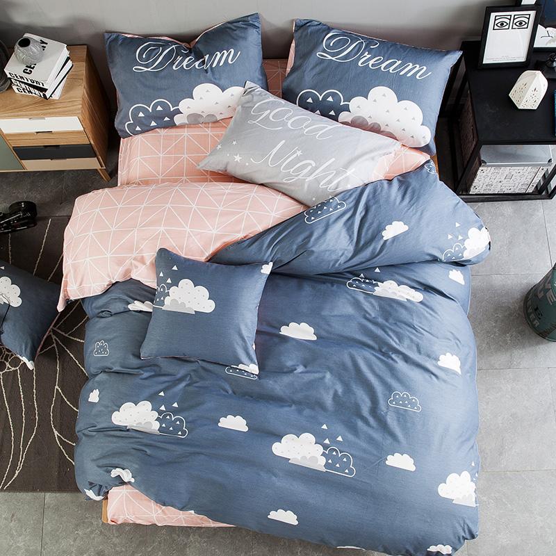 Đơn giản Hàn Quốc cotton bốn mảnh phim hoạt hình cotton linen quilt cover giường bộ 4 bộ 1.8 m1.5 mét bộ đồ giường