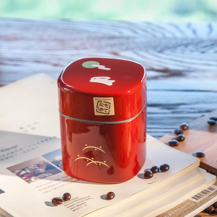 日本hakoya紅黑色月兔茶叶罐,送朋友使用中秋节礼物