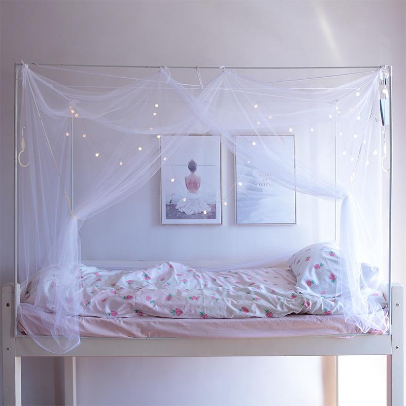 宿舍床帘物理加厚遮光上铺上下铺一体式带支架ins风寝室简约帘子(用3元券)