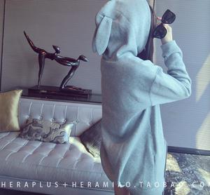 卫衣女秋冬中长款连帽加绒兔耳朵外套韩版潮学生宽松套头衫上衣服