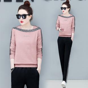 女韩版显瘦一字肩时尚卫衣两件套