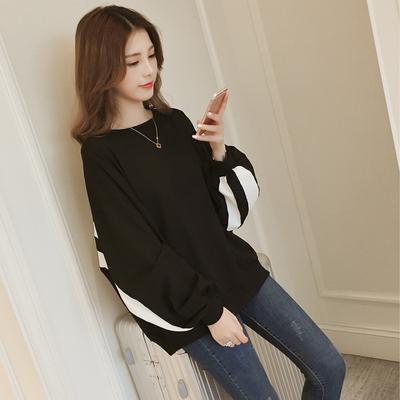 秋季新款韩版条纹撞色灯笼袖卫衣女学生长袖宽松黑色上衣外套166#