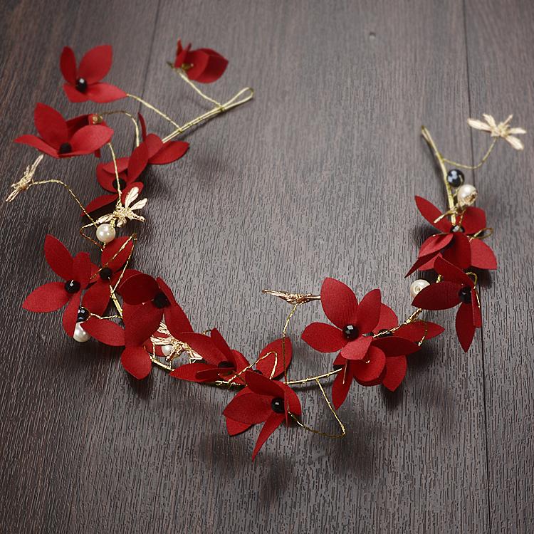 新娘头饰唯美红色珍珠绢布花朵结婚婚礼礼服发饰配饰品发条