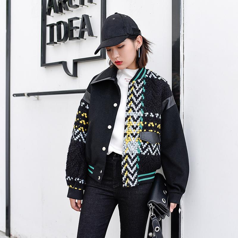 S nhà gốc của phụ nữ mùa đông 2017 mới của Hàn Quốc phiên bản của lỏng bf gió áo len ngắn dày áo len