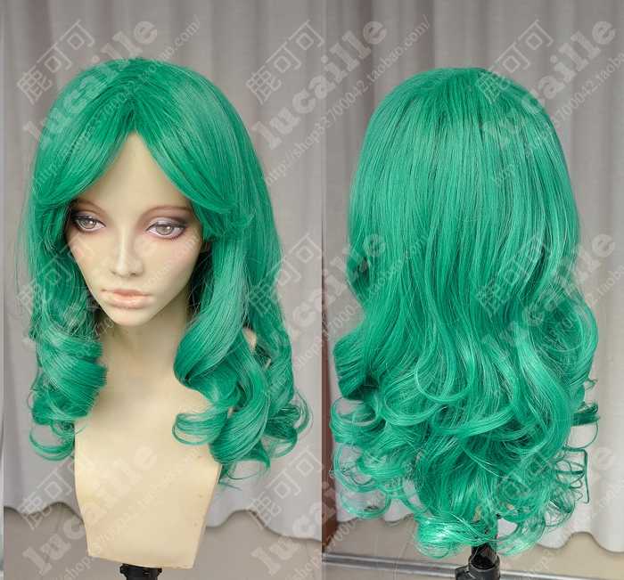Sailor Moon Sailor Neptune Long Green Cosplay Party Wig Hair