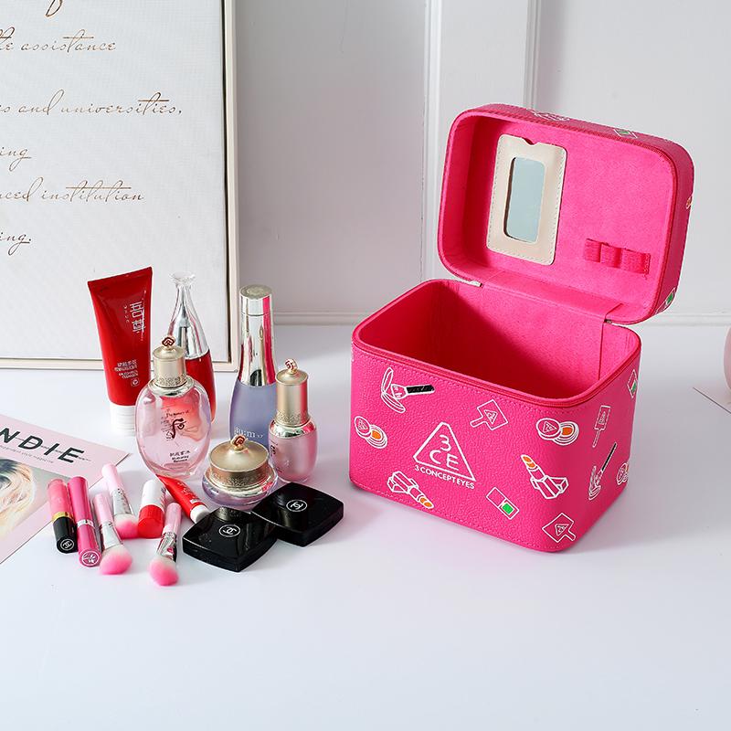 可爱韩版3CE大容量化妆包便携手提化妆箱女生化妆品收纳盒小方包[优惠价5元卖出255件]