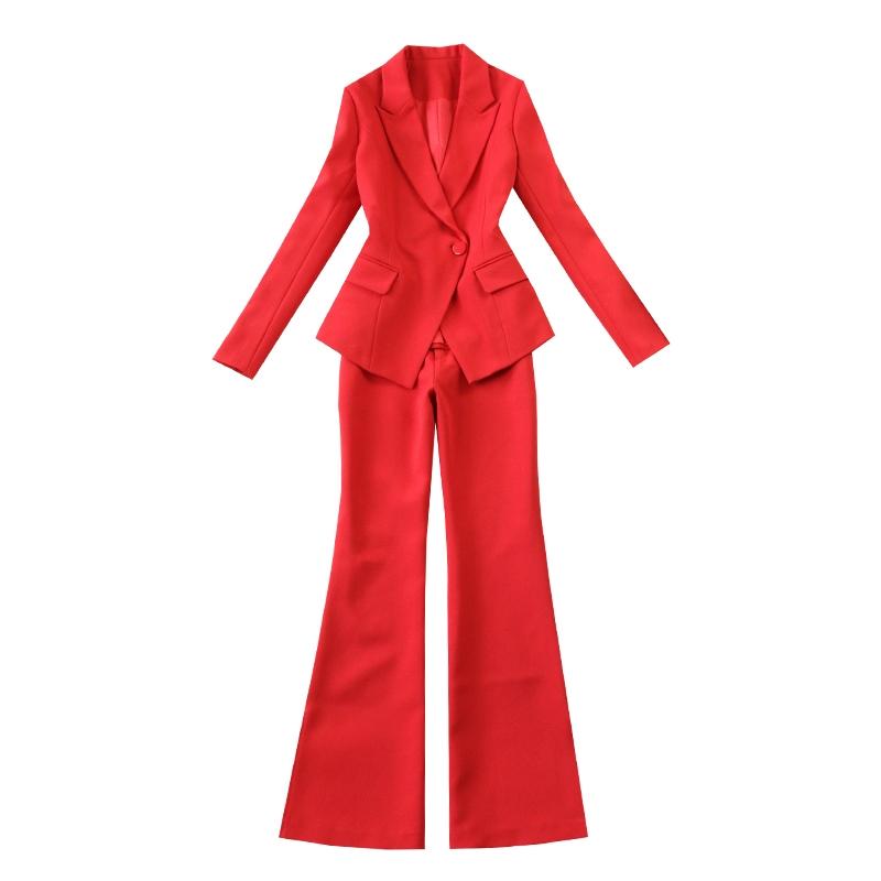 Kích thước lớn của phụ nữ 2018 mùa xuân và mùa hè mới lớn màu đỏ Mỏng một nút phù hợp với + loa quần phù hợp với