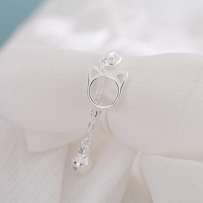 小众纯银猫咪戒指可爱铃铛开口食指戒学生少女小猫咪ins指环