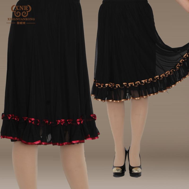 Trung niên nửa chiều dài váy mẹ nửa váy trung niên váy đàn hồi eo váy váy kích thước lớn của phụ nữ mùa hè ăn mặc