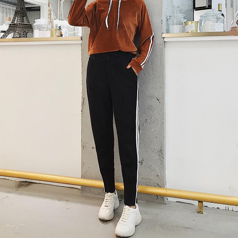 2018年春季新款运动裤休闲裤束脚裤学生嘻哈裤白条鹿皮绒街头女裤