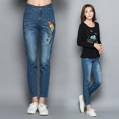 秋季新款刺绣弹力牛仔长裤女 民族风女装大码修身铅笔裤