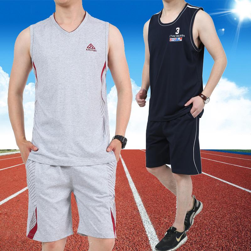 运动背心短裤套装男夏季运动服纯棉无袖衫休闲透气健身跑步服装薄
