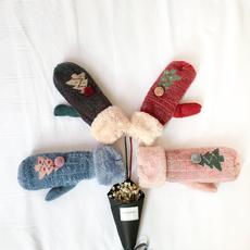 实拍实价 ~ 圣诞树手套冬季挂脖保暖连指卡通学生毛线加绒手套