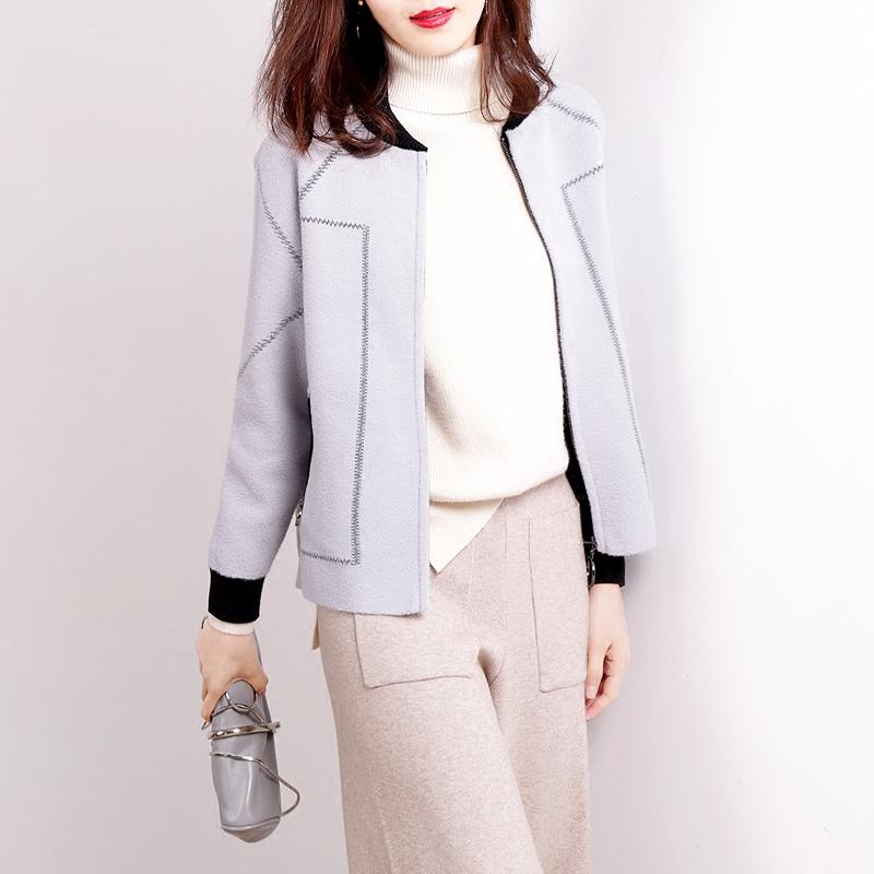 简约气质宽松短外套女秋季新款韩版针织仿呢加厚夹克百搭棒球服