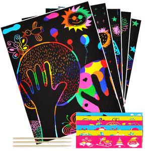 刮画纸创意儿童手工炫彩沙画涂鸦100张diy制作彩沙幼儿园a4刮刮画