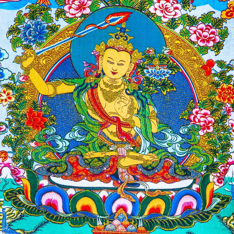 文殊菩萨唐卡刺绣布料装裱西藏唐卡装饰挂画文殊菩萨唐卡画心