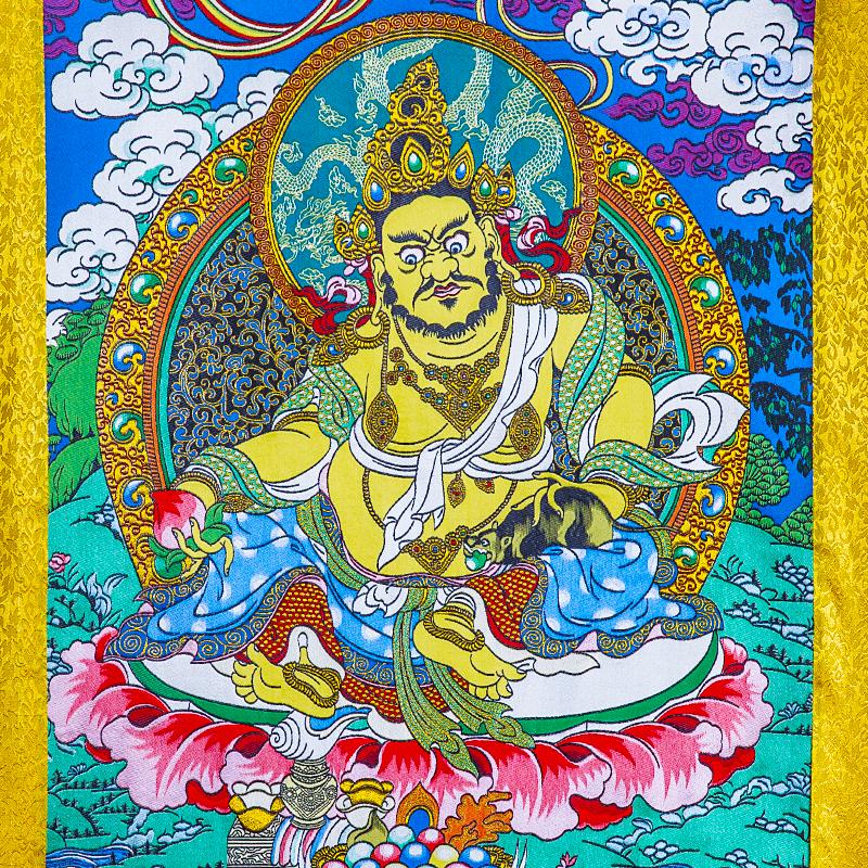 黄财神唐卡刺绣布料装裱西藏唐卡装饰挂画黄财神唐卡画心