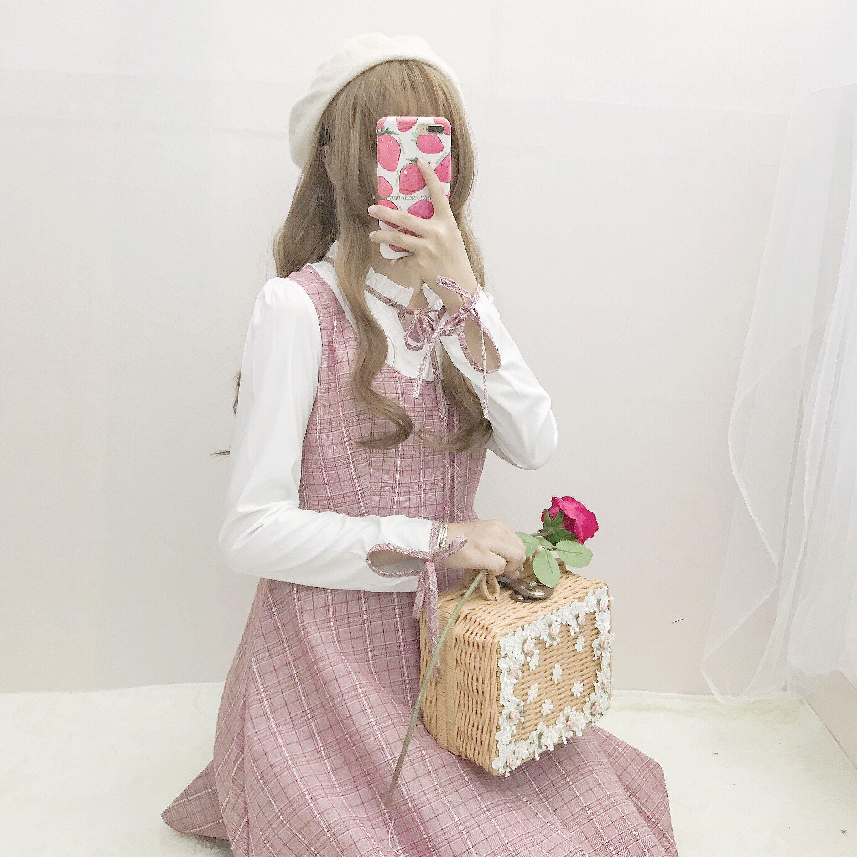 连衣裙女秋装新款中长款甜美小清新假两件系带大摆裙裙子学生