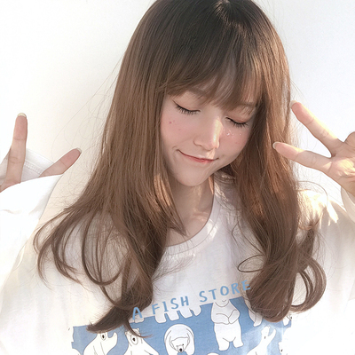 taobao agent 【Trainee】Yujia*new wig, black dyed top, slight gradient, girl with bangs in stock