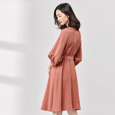 [New giá 149 nhân dân tệ] 2018 mùa xuân mới bảy điểm tay áo cổ áo cổ áo eo bìa bụng một từ dài ăn mặc Sản phẩm HOT
