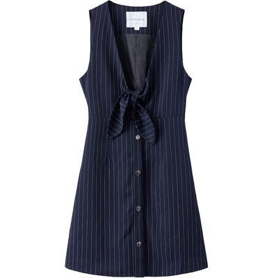[Giá mới 66 nhân dân tệ] 2018 mùa xuân mới V-cổ sọc nơ là dây đeo mỏng ăn mặc một từ ăn mặc nữ Sản phẩm HOT