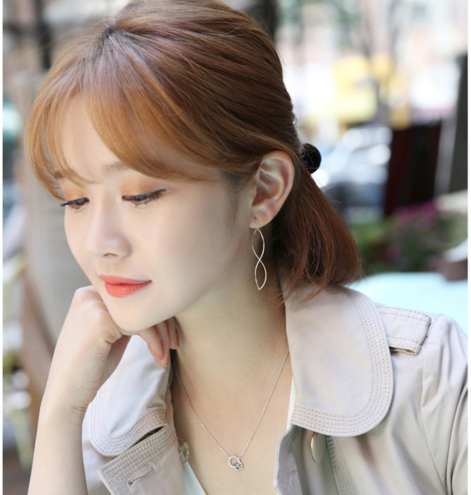 波浪S形925纯银耳线 手工耳环女耳饰 长款纯银耳坠极简耳饰防过敏