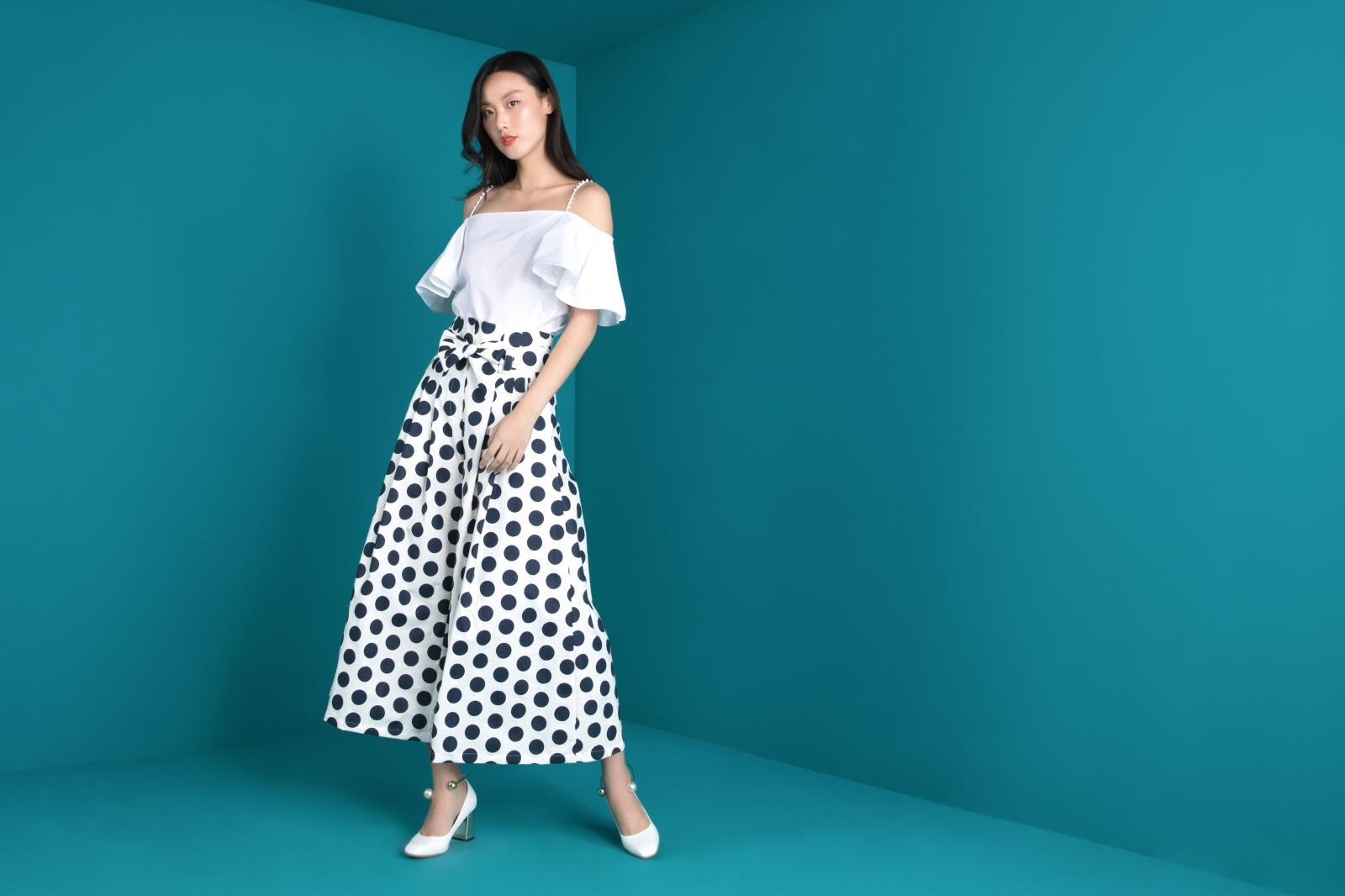 TRACYCHU 秋季女装新品首发黑白波点高腰薄款宽松阔腿裤
