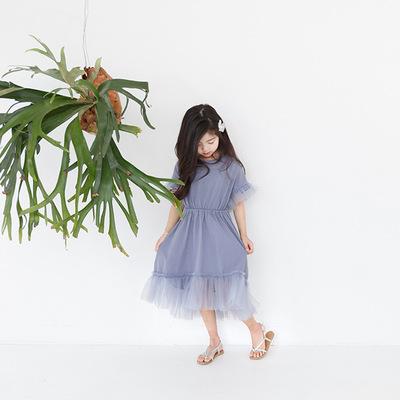 女童夏装新款中大儿童女孩纯色纯棉裙女孩网纱拼接连衣裙