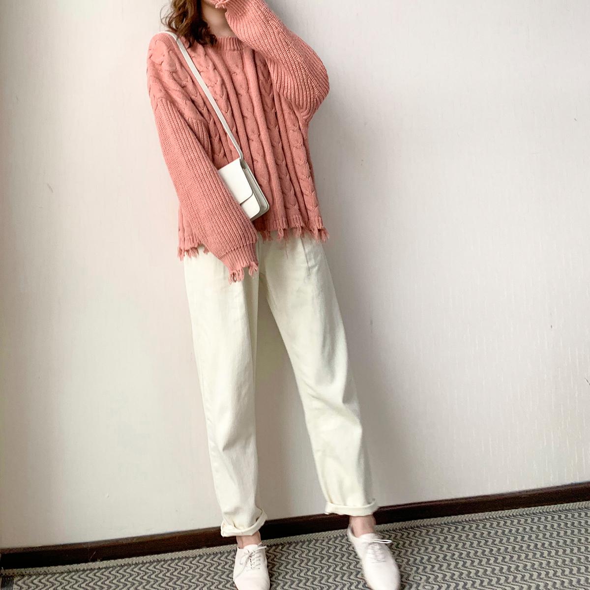 大喜自制白色牛仔裤秋装女新款复古显瘦紧身高腰小脚裤休闲裤