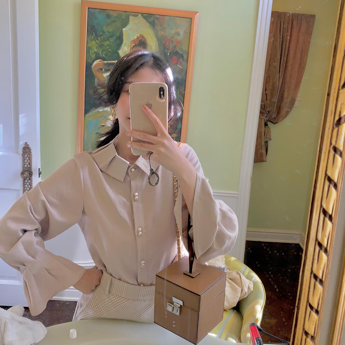 大喜自制冬季新款复古花边袖宽松韩范女装拼接长袖衬衫上衣女
