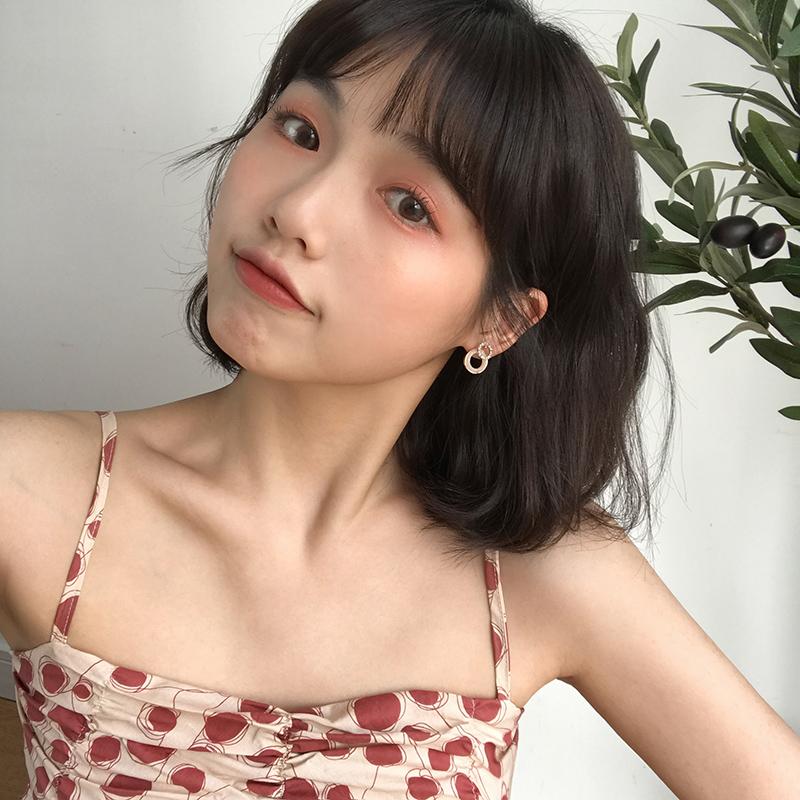 韩国精致个性锆石不对称耳环女简约百搭镂空小圆圈几何耳钉E736