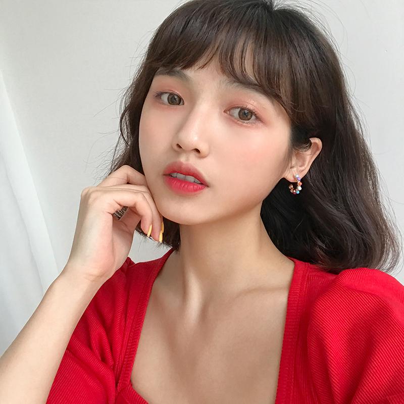缤纷假日泫雅风彩色珠珠耳圈耳环女韩国个性款甜美糖果色耳钉E986