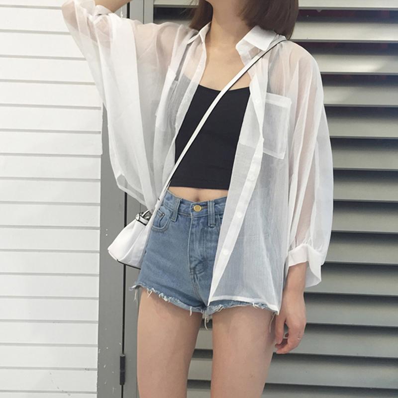 白色雪纺衬衫女夏季新款宽松薄款防晒衫外套百搭衬衣上衣