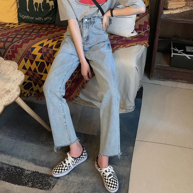 裤子女夏季新款网红高腰牛仔裤宽松直筒阔腿裤显瘦长裤潮