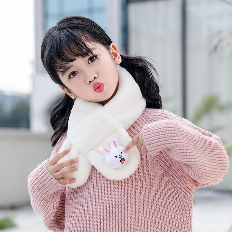 【爆款】儿童围巾秋冬毛绒加厚围脖套仿兔毛