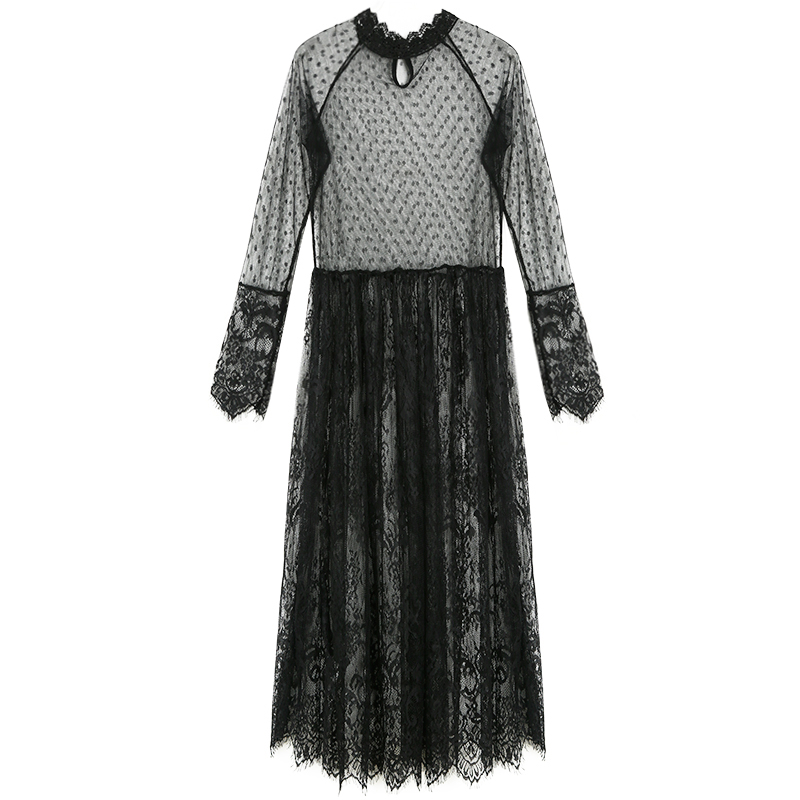 TaobaoRing Dream lace new sexy perspective splicing net yarn lace dress in the long section of high waist loose within the long tide - Trade News-21tradenet.com, global trading platform