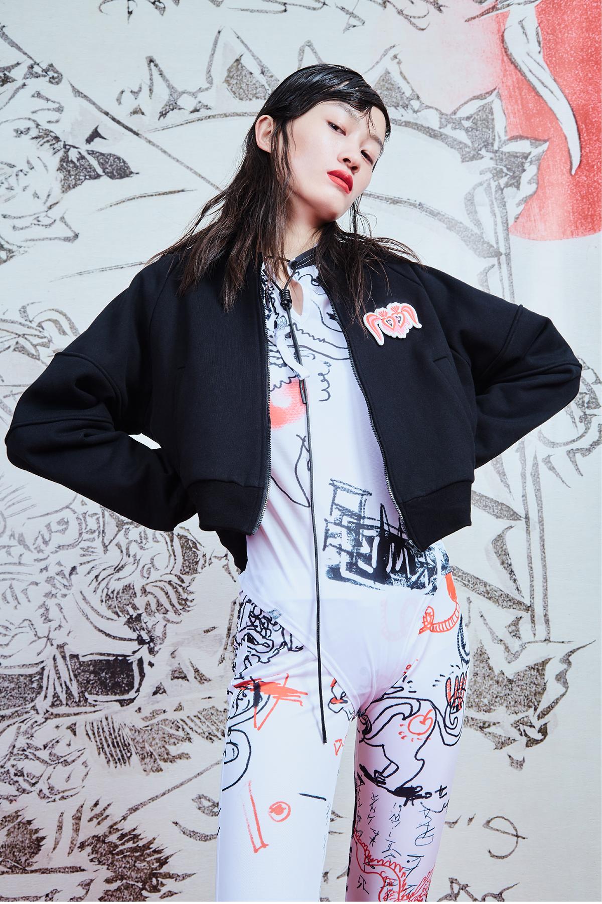 毛哩MOOLY/纨绔少女/黑色夹克短款设计感超长手袖修身短夹克外套