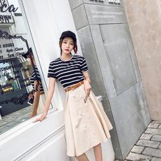 实拍小视频【2206】晚晚风港味学生条纹棉T+洗水一排扣半身裙套装