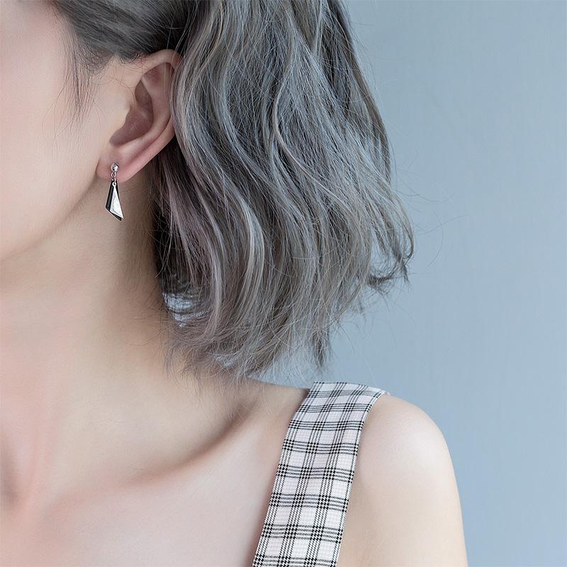 气质韩国s925纯银耳钉女 简约学生潮人耳环吊坠创意个性百搭饰品