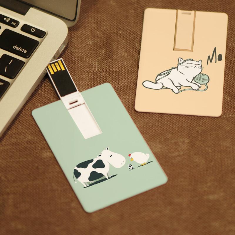 卡片式超薄便携u盘16GB创意个性防水迷你卡通可爱优盘礼品定制