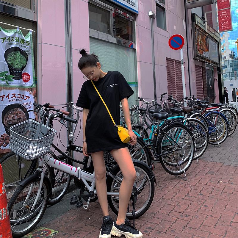 x-panda古着感少女中长款修身显瘦黑色t恤女2019新款夏季短袖上衣