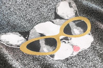 Q252 Pháp duy nhất lão hóa vòng cổ phim hoạt hình con chó đuôi hem lụa ngắn tay đầm váy đầm
