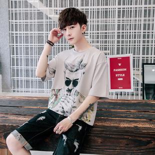 夏季男士短袖t恤潮牌纯棉七分袖韩版打底衫