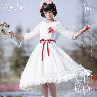 taobao agent 【Spot goods】NyaNya summer ringo lolita original solid color wild waist sleeves two wear round neck OP